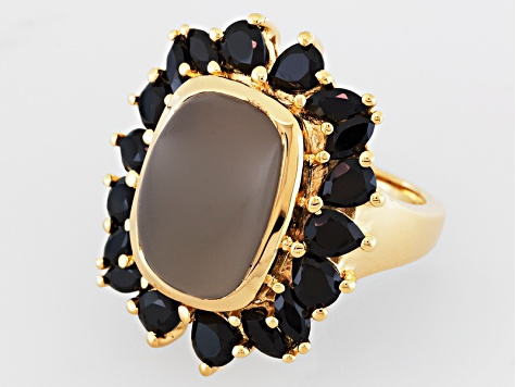 Gray Moonstone And Black Spinel 18k Gold Over Silver Ring 2.57ctw