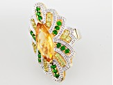 Yellow Citrine 18k Gold Over Silver Ring 4.95ctw