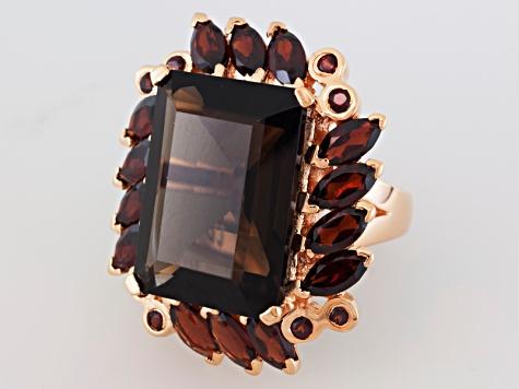 Smoky Quartz And Garnet 18k Rose Gold Over Silver Ring 17.62ctw