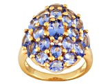 Blue Tanzanite And White Topaz 18k Gold Over Silver Ring 3.42ctw