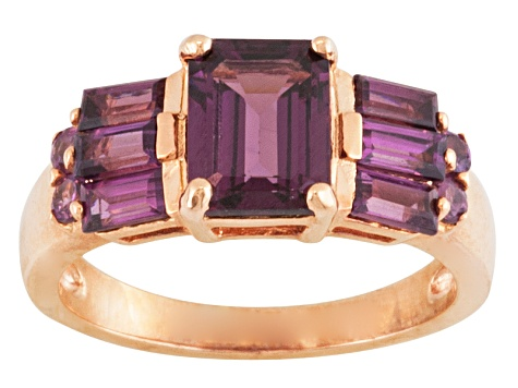 Purple Rhodolite 18k Rose Gold Over Silver Ring 2.40ctw