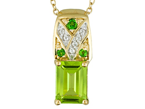Green Peridot And White Topaz 18k Gold Over Silver Pendant With Chain 1.79ctw