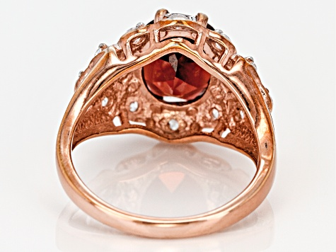 Red Garnet And White Zircon 18k Rose Gold Over Silver Ring 3.51ctw