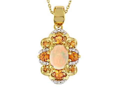 Ethiopian Opal 18k Gold Over Silver Pendant With Chain 1.44ctw