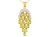 Green Peridot And White Topaz 18k Gold Over Silver Pendant With Chain 2.91ctw