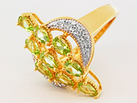 Green Peridot And White Topaz 18k Gold Over Silver Ring 1.74ctw