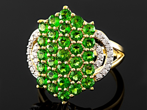 Green Chrome Diopside And White Zircon 18k Gold Over Silver Ring 2.65ctw