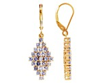 Blue Tanzanite 18k Gold Over Silver Dangle Earrings 1.70ctw