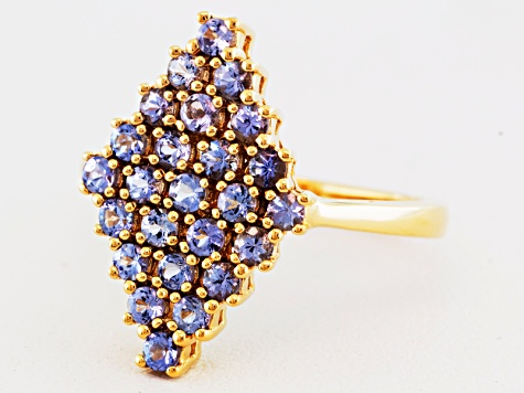 Blue Tanzanite 18k Gold Over Silver Cluster Ring .85ctw