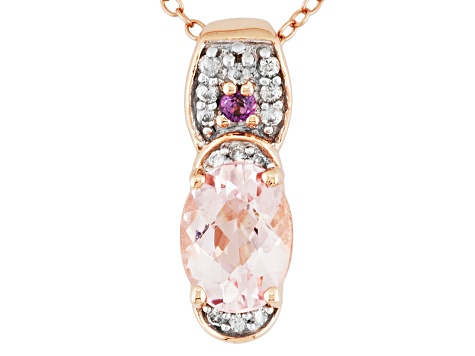 Pink Morganite 18k Rose Gold Over Silver Pendant With Chain 1.09ctw