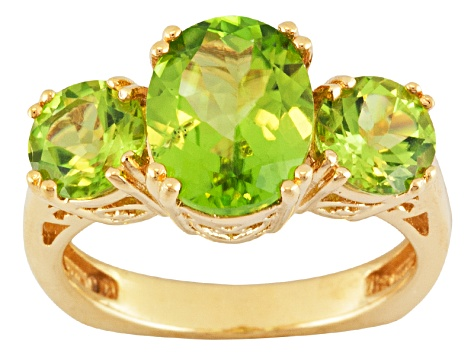 Green Peridot 18k Gold Over Silver Ring 3.92ctw