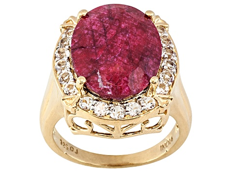 Red Corundum And White Topaz 18k Yellow Gold Over Sterling Silver Ring.