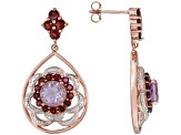 Pink Amethyst 18k Rose Gold Over Silver Earrings 4.26ctw