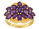Purple African Amethyst And Yellow Sapphire 18k Gold Over Silver Ring 2.99ctw