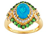Paraiba Color Ethiopian Opal 18k Gold Over Silver Ring 1.70ctw