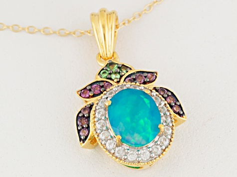 Paraiba Marico Ethiopian Opal™ 18k Gold Over Silver Pendant With Chain 1.25ctw