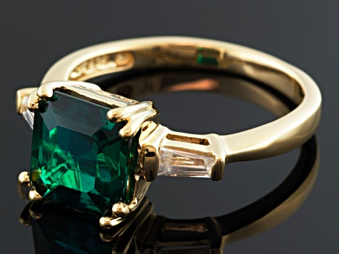 Green Lab Created Emerald And White Zircon 18k Gold Over Silver Ring 2.00ctw