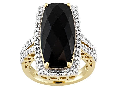 Black Spinel 18k Gold Over Silver Ring 5.91ctw