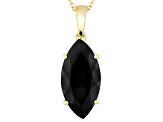 Black Spinel 18k Gold Over Silver Solitaire Pendant With Chain 8.35ct