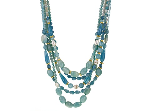 Blue Quartz 18k Gold Over Silver Beaded Necklace