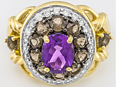 Purple Uruguayan Amethyst, Smoky Quartz And White Zircon 18k Gold Over Silver Ring 2.39ctw