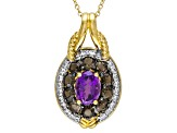Purple Uruguayan Amethyst 18k Gold Over Silver Pendant With Chain 2.29ctw