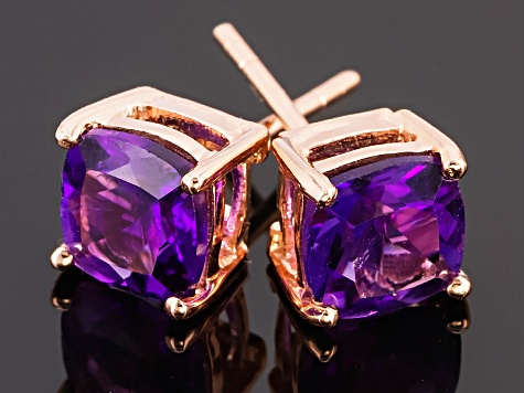Purple Uruguay Amethyst 18k Rose Gold Over Silver Stud Earrings 1.88ctw