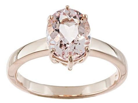 Pink Morganite 18k Rose Gold Over Silver Ring 1.42ct