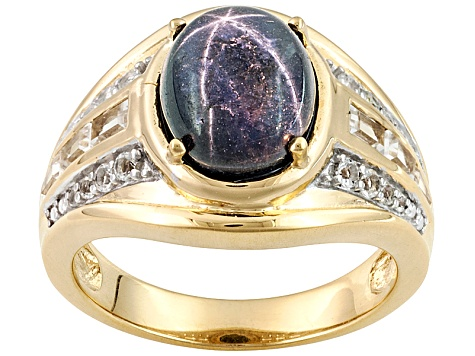 Blue Star Sapphire 18k Gold Over Silver Ring 5.22ctw