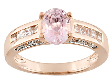 Pink Kunzite And White Zircon 18k Rose Gold Over Silver Ring 1.69ctw