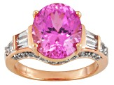 Pink Lab Created Sapphire 18k Rose Gold Over Silver Ring 7.18ctw