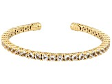 White Topaz 18k Gold Over Silver Flex Bangle 10.20ctw