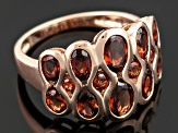 Red Garnet 18k Rose Gold Over Silver Ring 3.00ctw