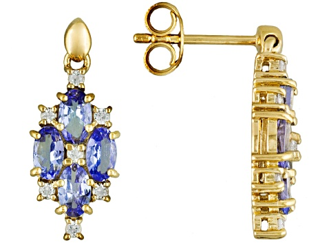 Blue Tanzanite 18k Gold Over Silver Earrings 1.80ctw