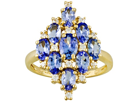 Tanzanite And White Zircon 18k Gold Over Silver Ring 2.20ctw