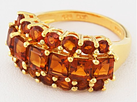 Orange Madeira Citrine 18k Gold Over Silver Ring 2.58ctw