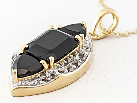 Black Spinel And White Topaz 18k Gold Over Silver Pendant With Chain 5.50ctw