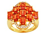 Orange Lab Padparadscha And White Topaz 18k Gold Over Silver Ring 5.98ctw
