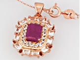 Red Ruby 18k Rose Gold Over Silver Pendant With Chain 3.32ctw