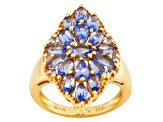 Blue Tanzanite And White Topaz 18k Gold Over Silver Ring 2.17ctw
