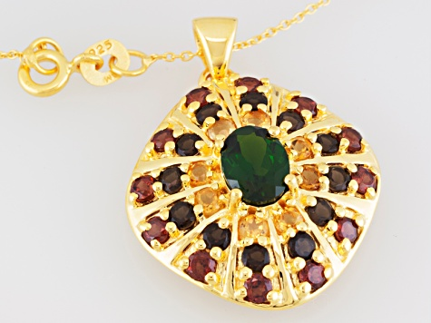 Chrome Diopside, Citrine, Smoky Quartz And Garnet 18k Gold Over Silver Pendant With Chain 3.15ctw