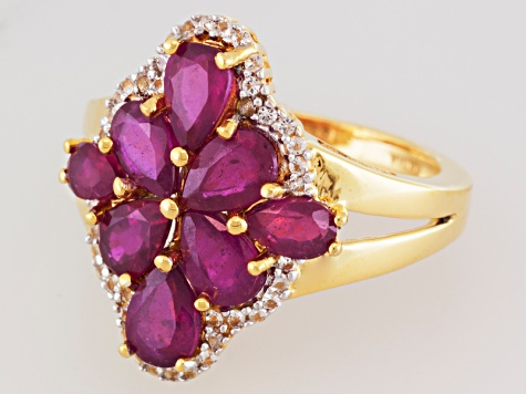 Ruby And White Topaz 18k Gold Over Silver Ring 3.49ctw