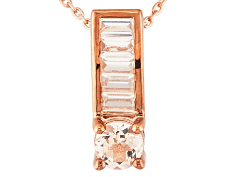 Pink Morganite 18k Rose Gold Over Silver Pendant With Chain .96ctw