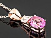 Pink Topaz 18k Rose Gold Over Silver Pendant With Chain 2.24ctw