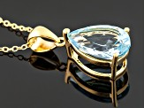 Sky Blue Topaz 18k Gold Over Silver Pendant With Chain 5.52ct