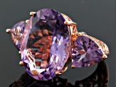Orchid Amethyst 18k Rose Gold Over Silver Ring 17.02ctw