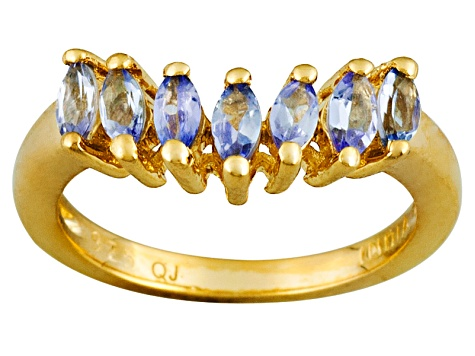 Blue Tanzanite 18k Gold Over Silver Band Ring.47ctw