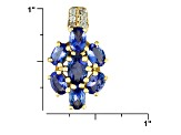 Blue Tanzanite And White Zircon 18k Gold Over Silver Pendant With Chain 3.14ctw