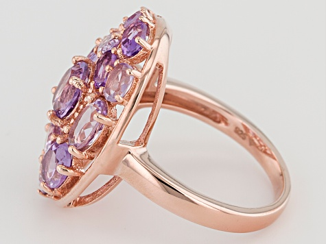 Purple Brazilian Amethyst 18k Rose Gold Over Silver Ring 3.13ctw
