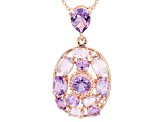 Purple Brazilian Amethyst 18k Rose Gold Over Silver Pendant With Chain 3.99ctw